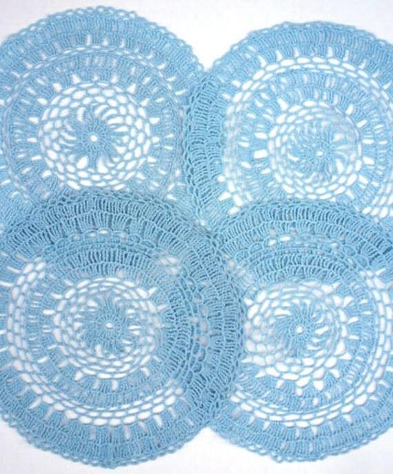 Set of 4 Blue Crochet Doilies