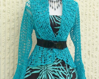 Crochet Bolero Jacket - In Blue Tourquis long Sleeve