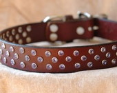 Poodle Perfect - Brown Leather Dog Collar with Glamorous Lavender  Handset Rivets - Size Small to Large or, Custom Dog Collar