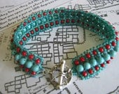 Turquoise Red Beadwoven Bracelet, with Sunburst Silver Toggle Clasp