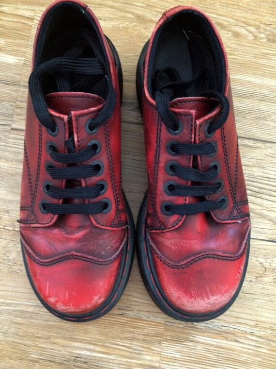 Reserved for H - Do Not Purchase - Vintage Dr. Martens Doc Martens Red Leather Platform Shoes Size UK 5 US 7