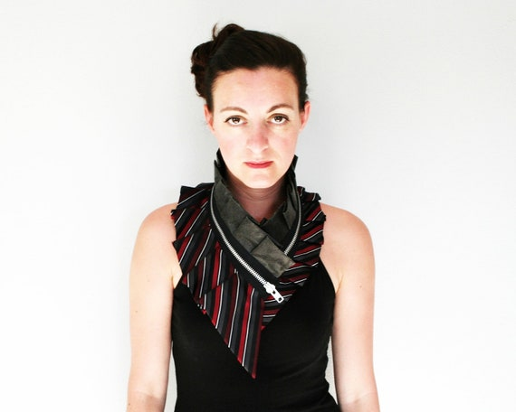 Silk collar necklace with faux leather and massive zipper, bold statement, womens accessory, red gray striped silk by Bartinki