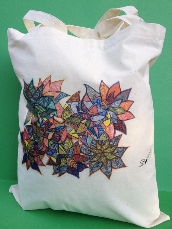 Tote Bag-cotton Tote Bag-inkjet transfer print-Title Radiance-flowers-colour calico-image from original hand drawing.
