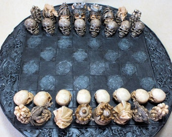 Skull  Chess Set/ Pieces  Painted  (Board Not Included)