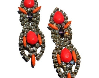 Custom Statement Bold One of a Kind Neon Hand Painted Vintage Rhinestone Earrings - style Neon Strawberry  IV (Glow in the dark )