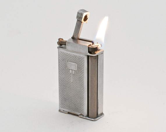 RESERVED FOR BHWRITE - Working 1930s Tall British Roller Style Arm Lift Pocket Lighter