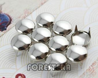 50Pcs 12mm Silver Round Studs Metal Studs (SR12)