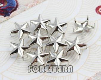 400Pcs 12mm Silver STAR Studs Metal Studs (SS12)