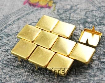 300Pcs 10mm Gold Flat Square Studs (JFQ10)