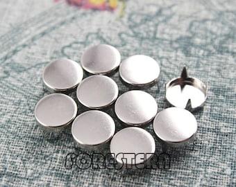 100Pcs 10mm Silver Flat Round Studs Metal Studs (SFR10)
