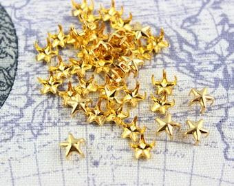 300Pcs 7mm GOLD STAR Studs Small Metal Studs (JS07)