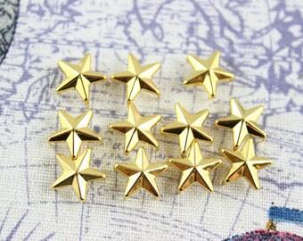 300Pcs 12mm GOLD STAR Studs Metal Studs (JS12)