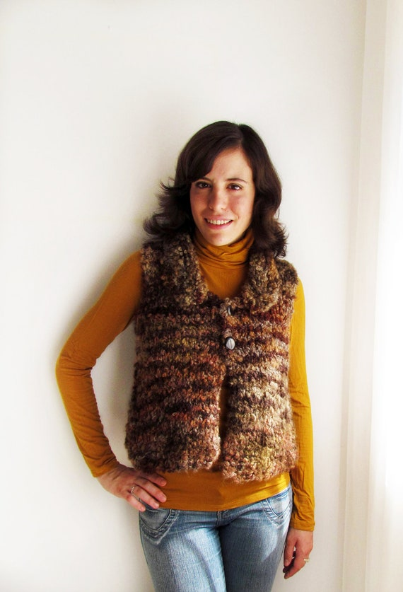 Handknit fluffy brown vest - Size S or M
