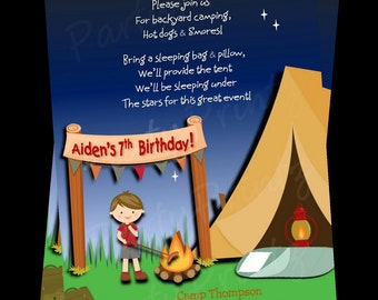 Printable Camping Invitations -  Personalized - Boy  Birthday Sleepover (BROWN HAIR)