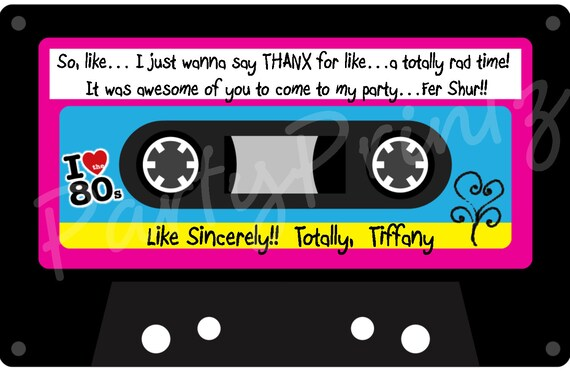 Printable 80 S Thank You Cards Personalized By Partyprintz