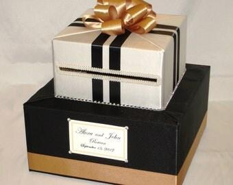 Blac-Ivory-Gold Wedding Card Box-Rhinestone accents