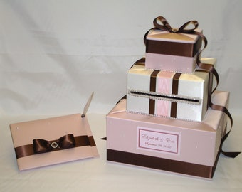 Elegant Custom Made Wedding Card Box-Guest Book/Pen set- any color combination
