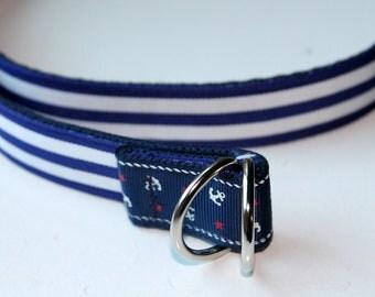 Girls Nautical Belt Navy Stripes Belt Reversible Belt Anchor Belt Reversible Anchor Belt Girls Anchor Belt Girls Navy stripe Belt Girls belt