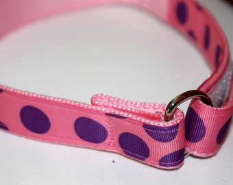 Pink and Purple D Ring Velcro Belt Polka Dot Belt