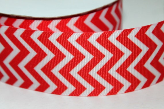 "Chevron Ribbon 1.5 "" Wide Red and White 2.5 Yards"