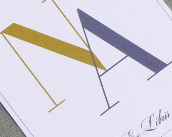 PERSONALIZED BOOKPLATE Modern Monogram Sticker - set of 24
