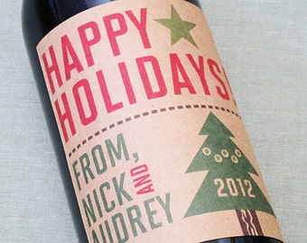 Holiday Wine Label or Christmas Wine Label with Christmas Tree on Kraft, personalized, set of 18