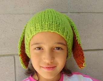 Toddler Hat, Green Pistachio with Rabbit Ears and Braids, Kids Hat, Baby Hat, Child Hat, Girl Hat, 4T to 7T.