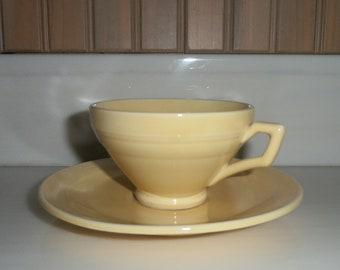 Vernon Kilns Teacup Yellow Early California Angular Teacup & Saucer