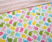 Urban Zoologie Bird pink Print /Soft Minky Baby Blanket ,Ready to Ship
