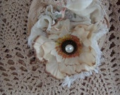 Shabby Chic Vintage Ecru Lace Flower Pin Or Brooch