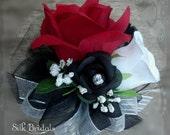 Wrist corsage Wedding Bridal flowers red white silk roses mother grandmother keepsake corsage prom