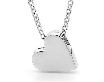 Small Sterling Silver Baby Heart Pendant, silver heart necklace or anklet
