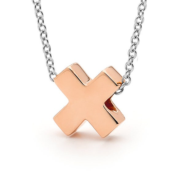 Rose Gold and Sterling Silver small  'Baby Kiss' Necklace, X pendant, Rose Gold X necklace
