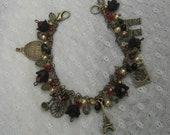Beaded charm bracelet - Paris travel black red cream bronze retro