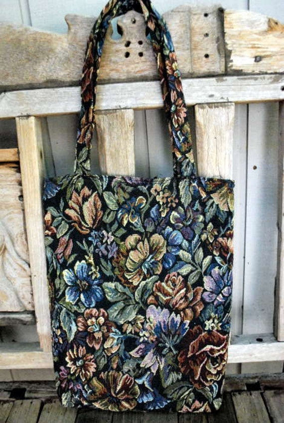 Midnight Floral Tapestry 80s Tote Purse