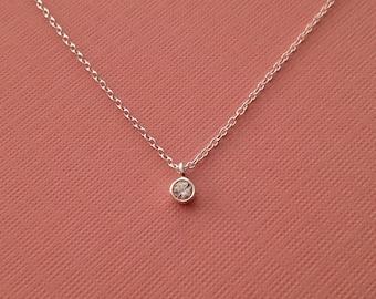 Tiny Crystal Necklace in Sterling Silver -April Birthstone Necklace -Tiny Diamond Necklace