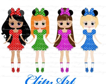 Cute Minnie Dolls - Girls Clip Art for scrapbooking, card making, Invites, photo cards (CA47)