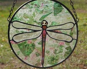 Round Pink Green Blue Colors of the Rainbow Stained Glass Dragon Fly Suncatcher Window Hanging