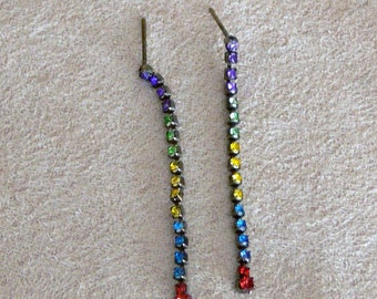 green  blue red and yellow Hand painted rhinestone dangle post  earrings