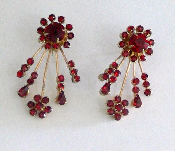 red  glass  bridal dangle post  earrings