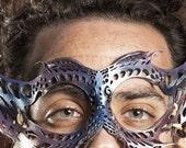 Sea Horse Leather Mask, Filigree, Silver, Lavender, Blue, Cosmic, Ocean, Fairy, Otherwordly, OOAK