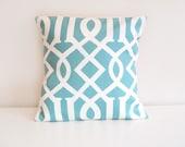 SALE ONE Decorative Pillow Cover. Aqua Blue. Trellis Geometric Pillow. 16 x 16 Inch Accent Pillow Cover
