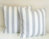 Gray Stripes Throw Pillow Covers. 18 X 18 Inch Decorative Pillows. Storm Gray and White