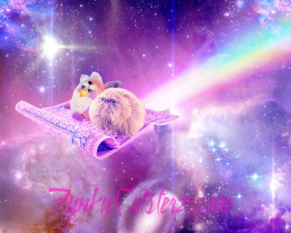 I Can Show You The World - Digital Cat and Furby Art Print