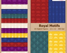 Digital Scrapbook Paper Pack  - ROYAL MOTIFS - Instant Download