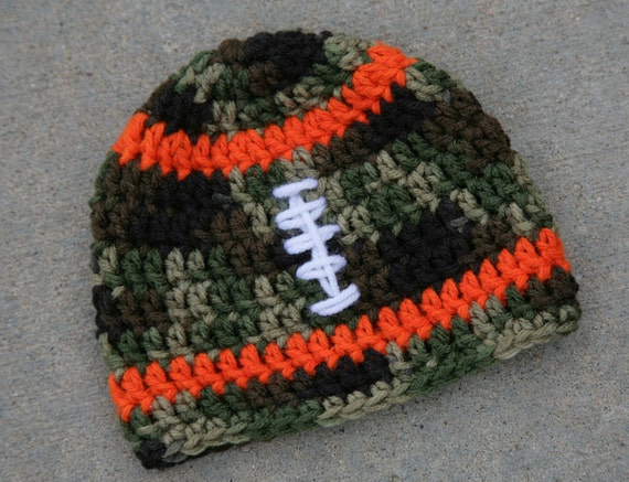 Items similar to Camo baby football hat, camouflage and ...