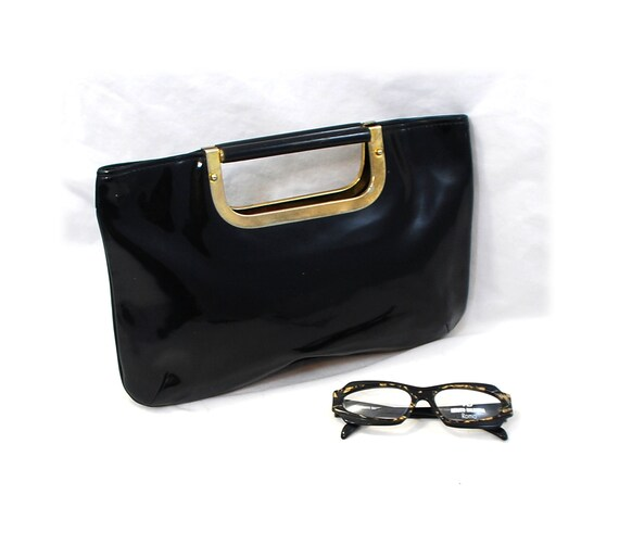 Vintage 60s Black Patent Mod Clutch Bag - Free Priority Shipping