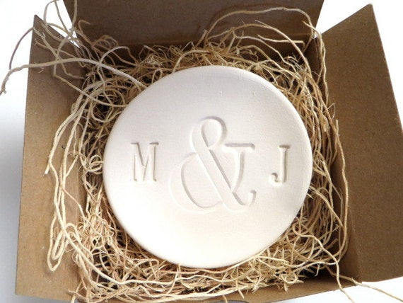 mr and mrs ring holder engagement ring dish by promisepottery