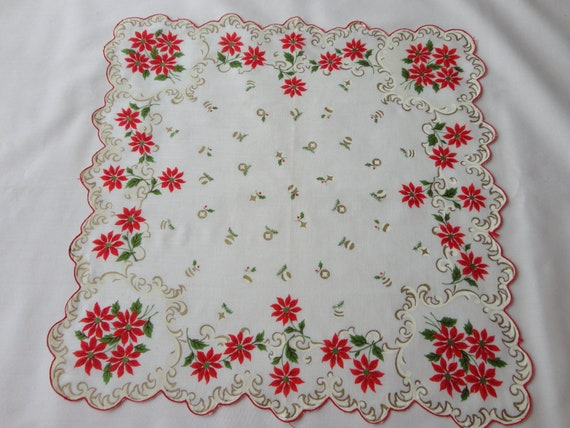 VINTAGE Christmas Hankie 1950s White with ceam and gold design around scalloped red edge, poinsettia border, gold ornaments  cotton print