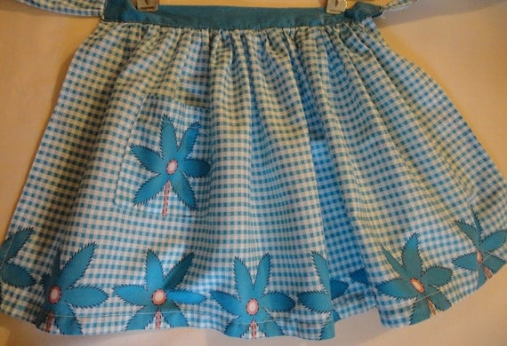 VINTAGE Child's Apron 1950s turquoise and white check with border turquoise flower print, flower pocket  little girl gift
